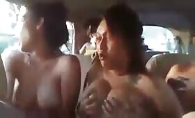 Horny naked indian hookers show big tits in running car