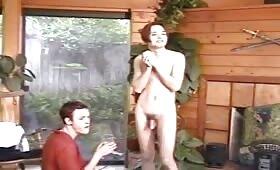 Dick throbbing photoshoot of a gay model masturbation